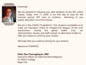 Message from the Executive Officer for Administration/Registrar